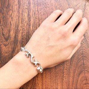 Vintage sand cast sterling silver cuff bracelet